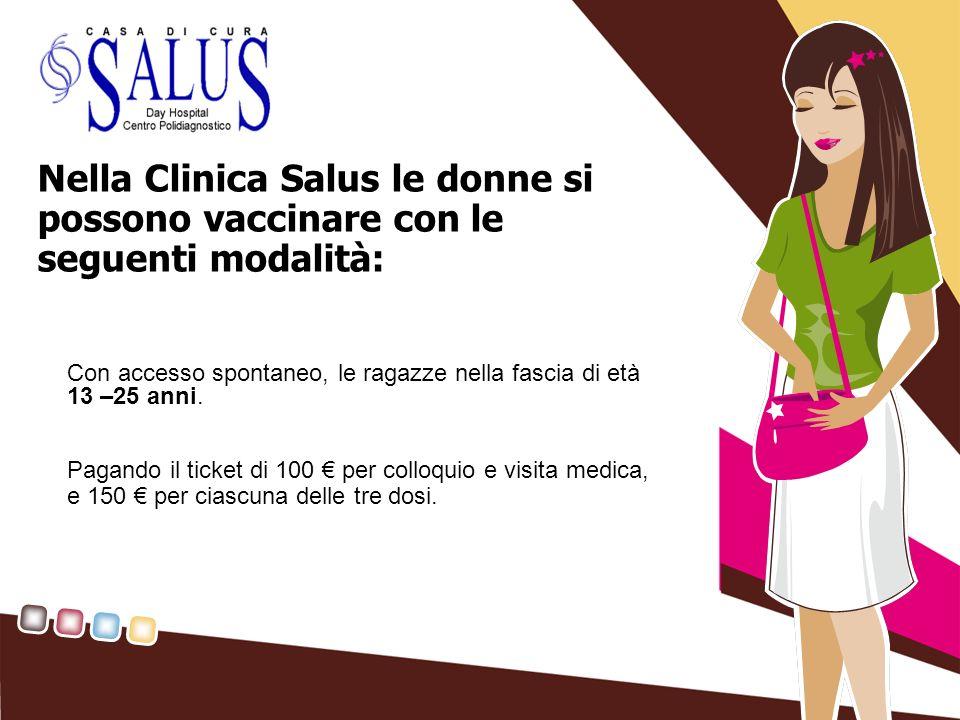Nella Clinica Salus le donne si possono vaccinare con le seguenti modalità: