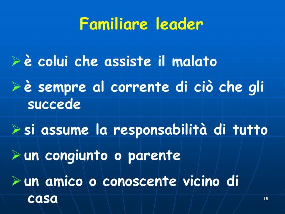Familiare leader è colui che assiste il malato
