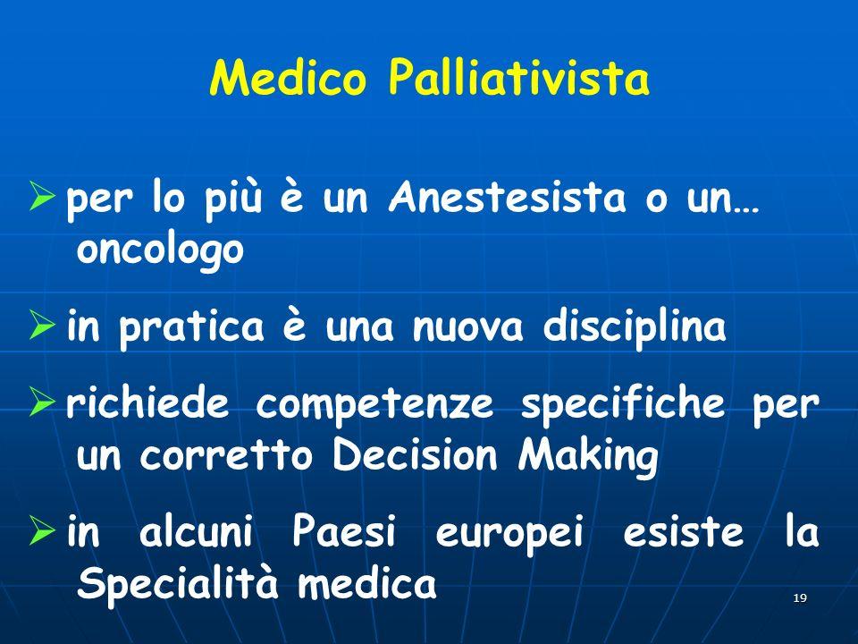 Medico Palliativista per lo più è un Anestesista o un… oncologo
