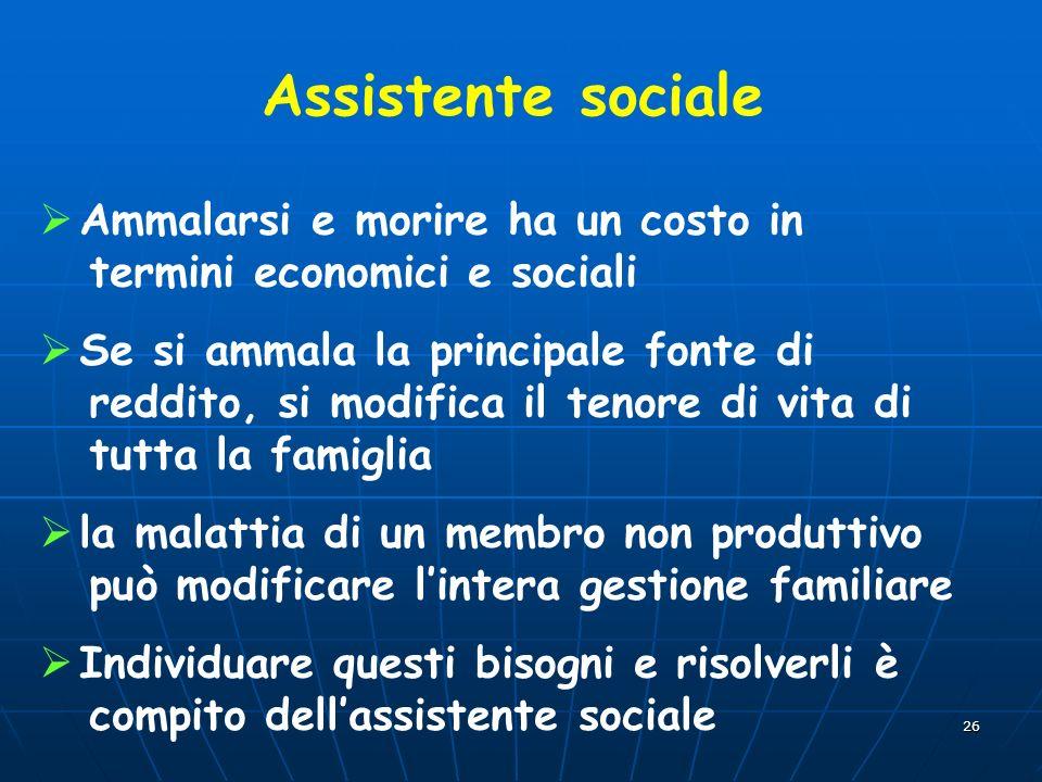 Assistente sociale Ammalarsi e morire ha un costo in termini economici e sociali.
