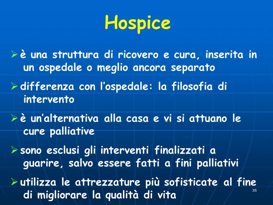 Hospice è una struttura di ricovero e cura, inserita in un ospedale o meglio ancora separato.