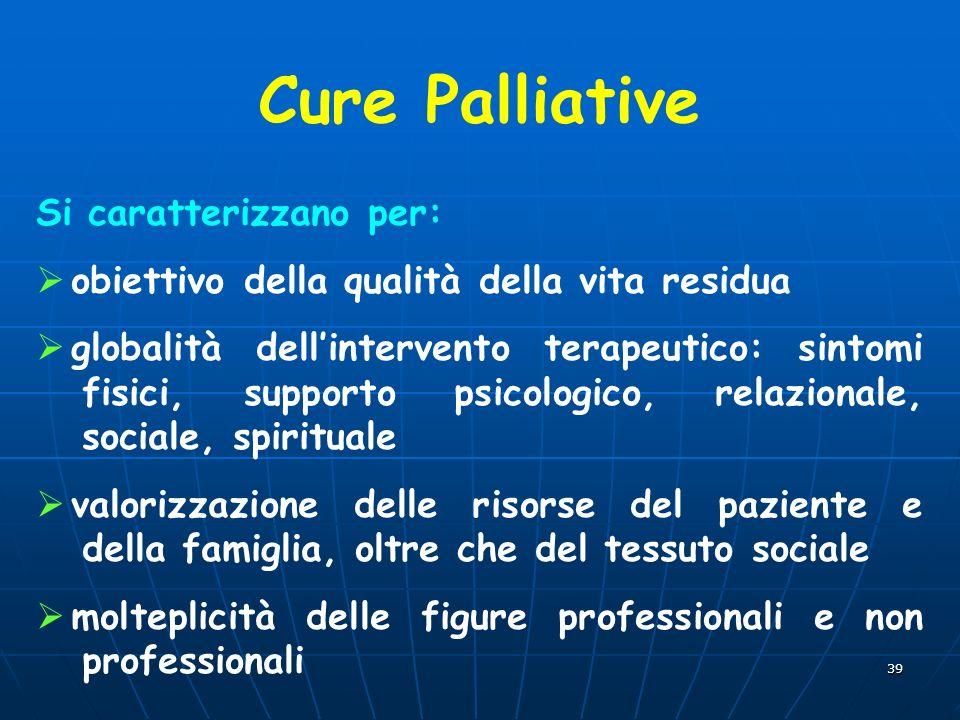 Cure Palliative Si caratterizzano per: