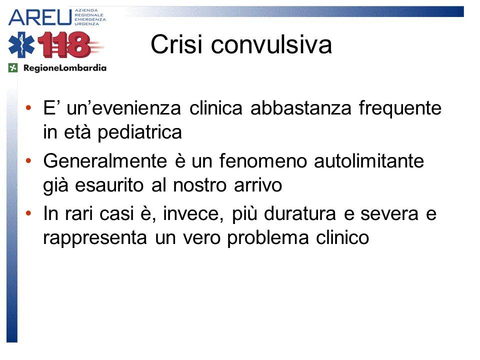 Crisi convulsiva E' un'evenienza clinica abbastanza frequente in età pediatrica.