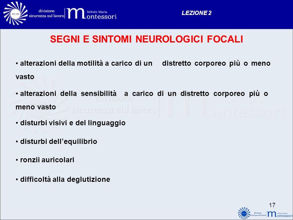 SEGNI E SINTOMI NEUROLOGICI FOCALI
