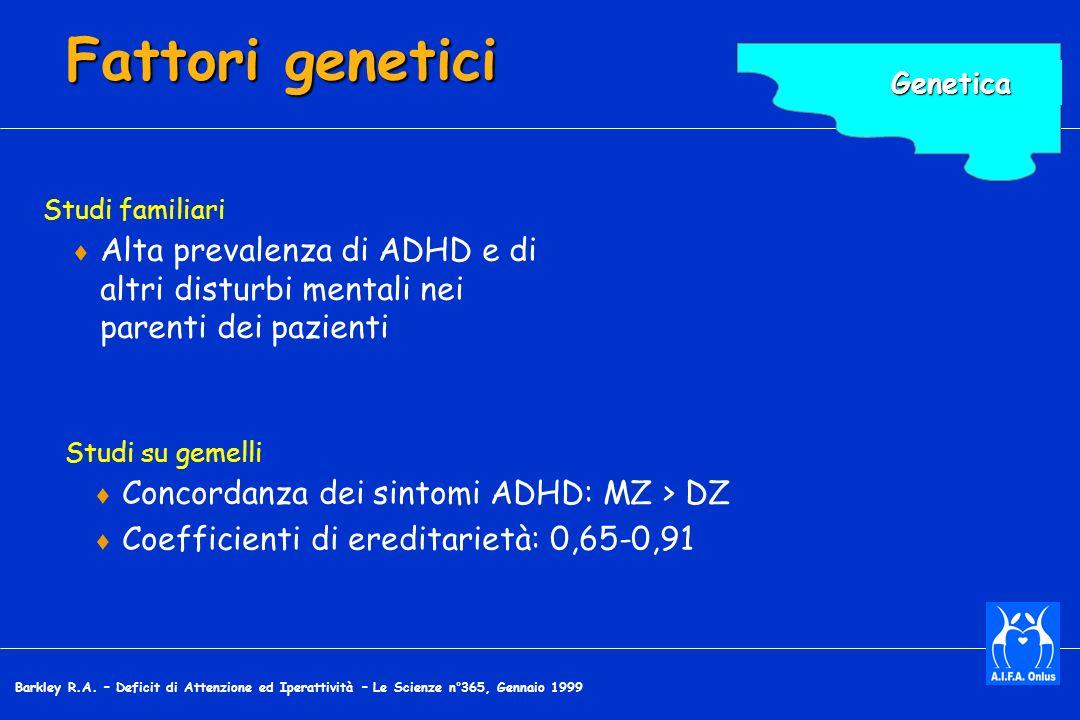 Fattori genetici Genetica. Scopo: Indicare l'evidenza – tratta dalla genetica comportamentale – di un legame genetico con l'ADHD.