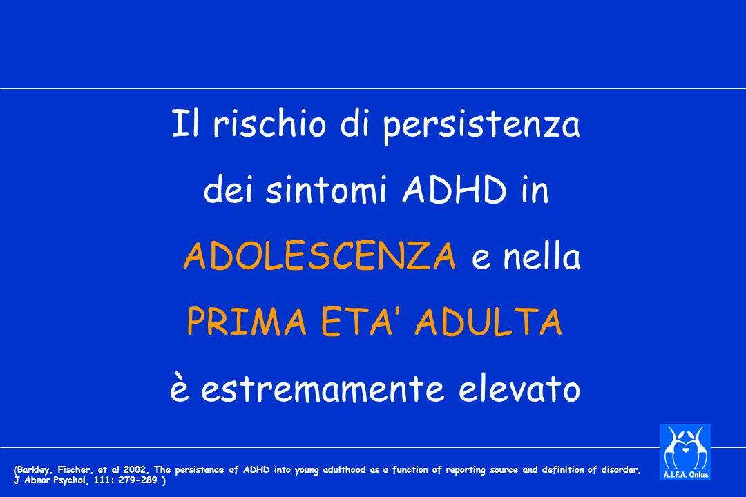Il rischio di persistenza dei sintomi ADHD in ADOLESCENZA e nella