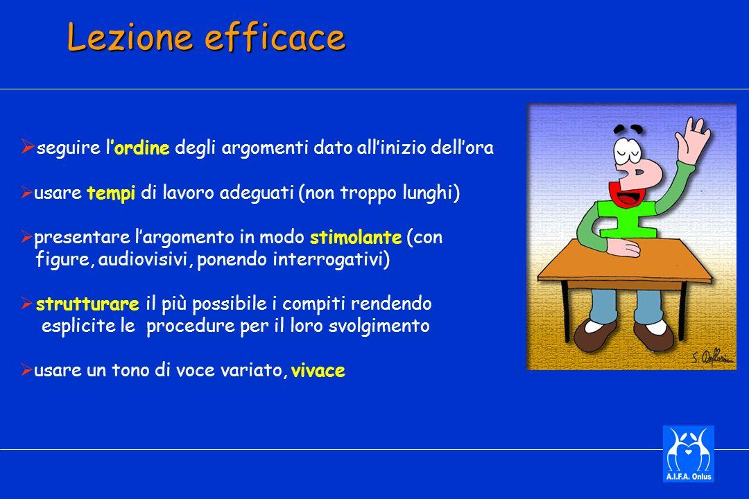 Lezione efficace seguire l'ordine degli argomenti dato all'inizio dell'ora. usare tempi di lavoro adeguati (non troppo lunghi)