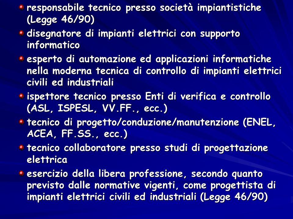 responsabile tecnico presso società impiantistiche (Legge 46/90)