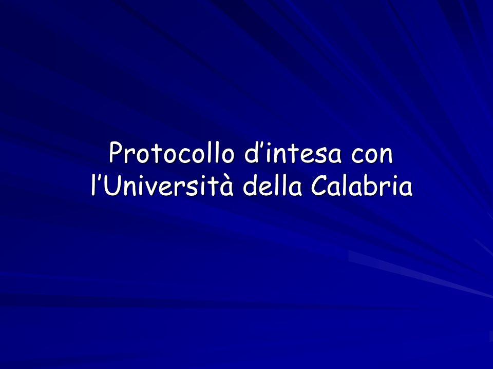 Protocollo d'intesa con l'Università della Calabria