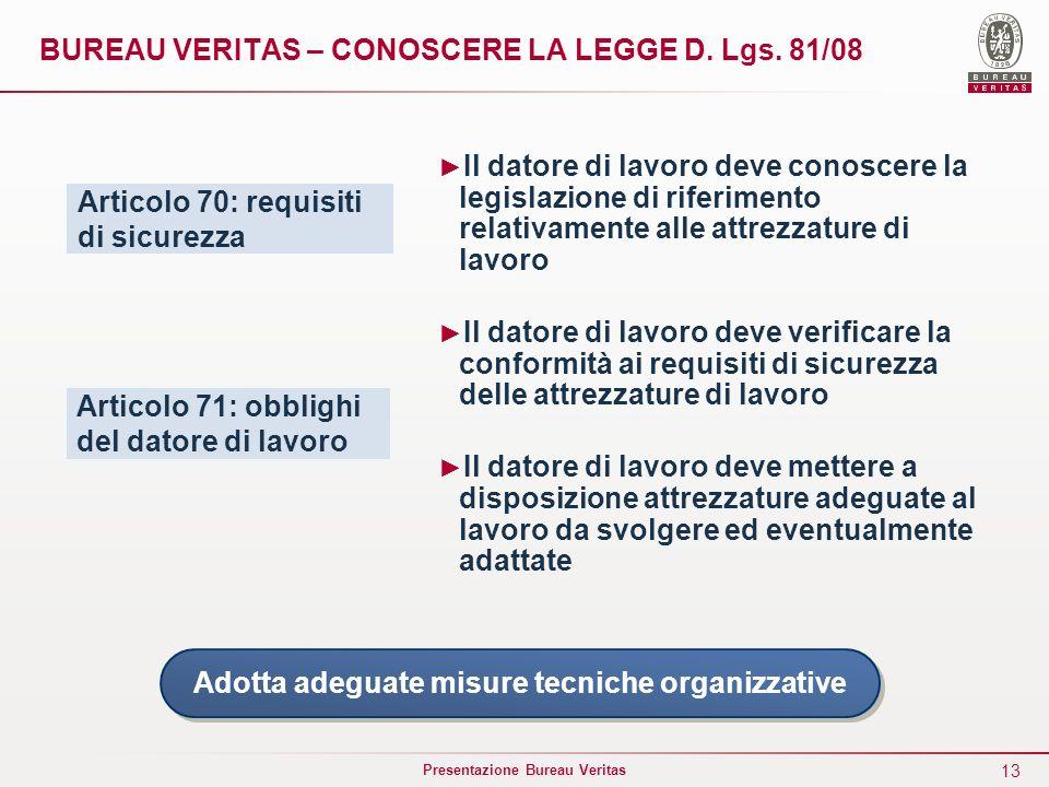 BUREAU VERITAS – CONOSCERE LA LEGGE D. Lgs. 81/08