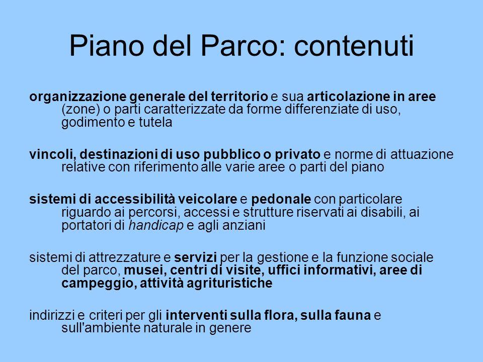Piano del Parco: contenuti