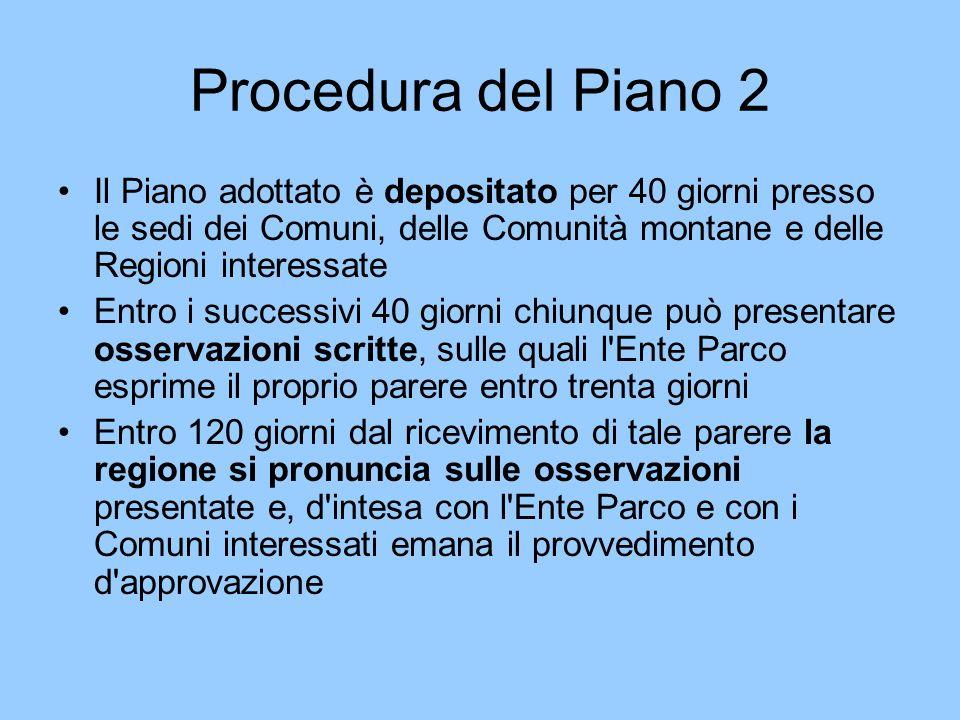 Procedura del Piano 2 Il Piano adottato è depositato per 40 giorni presso le sedi dei Comuni, delle Comunità montane e delle Regioni interessate.