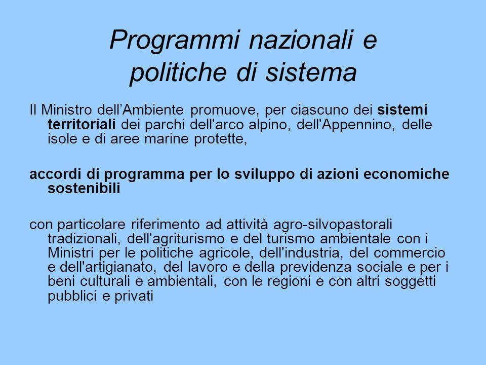 Programmi nazionali e politiche di sistema