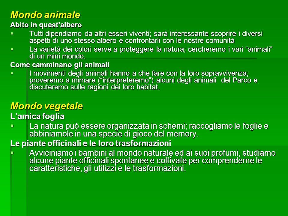 Mondo animale Mondo vegetale L'amica foglia