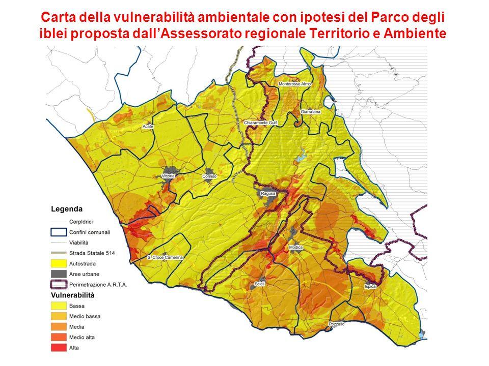 Carta della vulnerabilità ambientale con ipotesi del Parco degli iblei proposta dall'Assessorato regionale Territorio e Ambiente