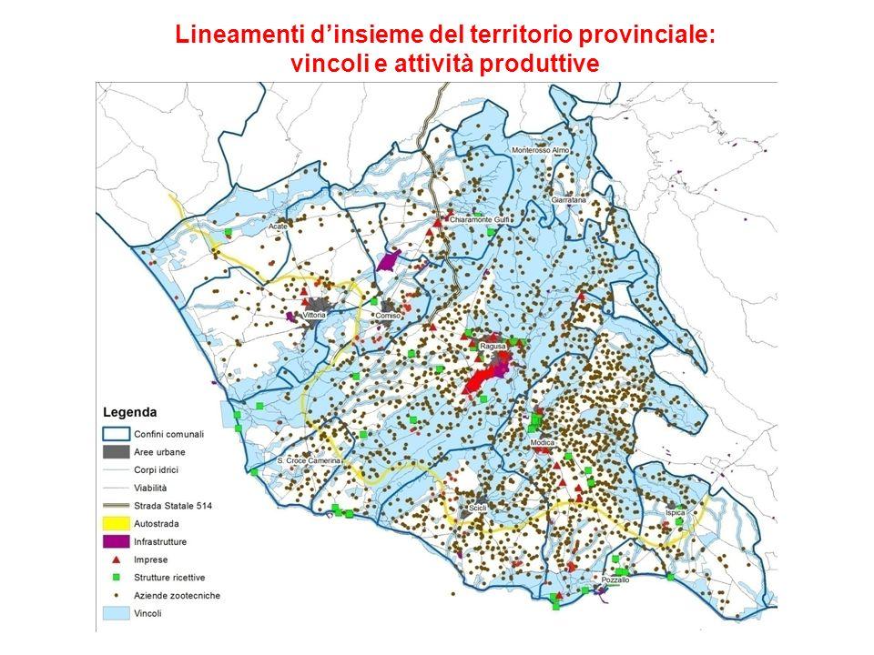 Lineamenti d'insieme del territorio provinciale: vincoli e attività produttive