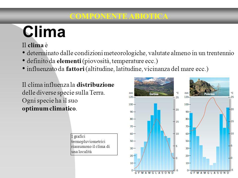 Clima COMPONENTE ABIOTICA Il clima è