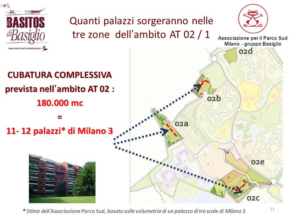 Quanti palazzi sorgeranno nelle tre zone dell'ambito AT 02 / 1