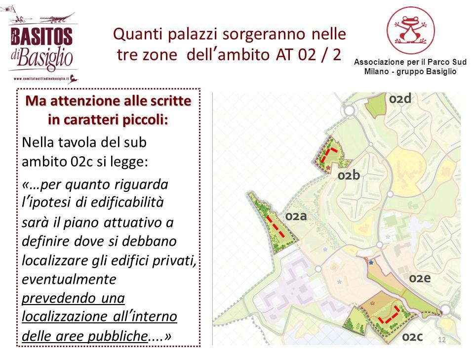 Quanti palazzi sorgeranno nelle tre zone dell'ambito AT 02 / 2