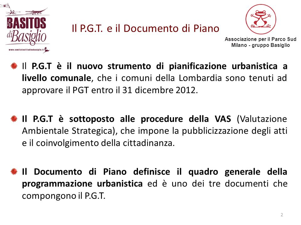 Il P.G.T. e il Documento di Piano