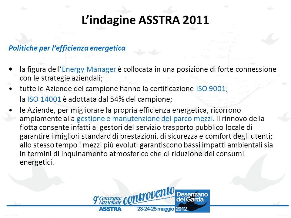 L'indagine ASSTRA 2011 Politiche per l'efficienza energetica