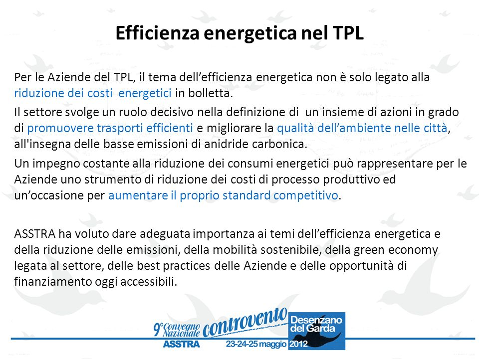 Efficienza energetica nel TPL