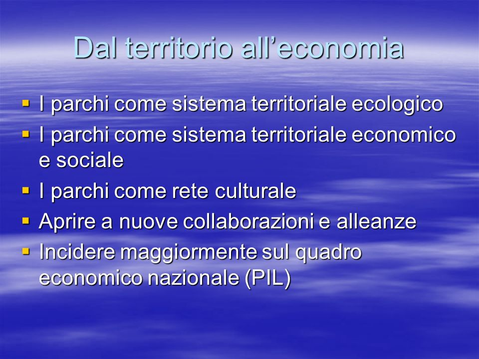 Dal territorio all'economia