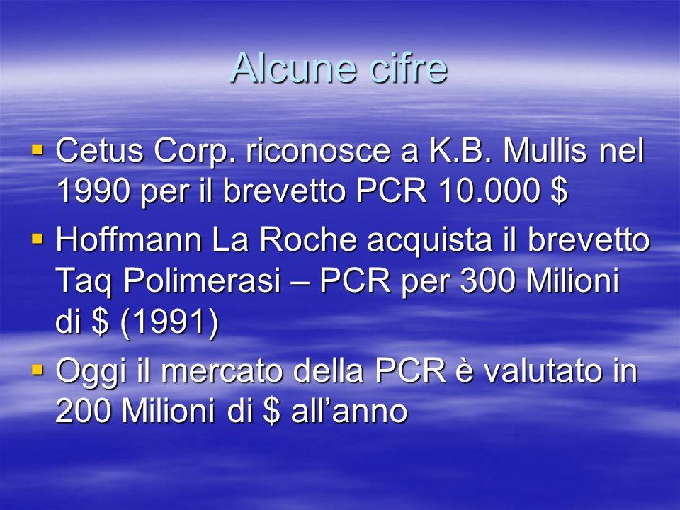 Alcune cifre Cetus Corp. riconosce a K.B. Mullis nel 1990 per il brevetto PCR 10.000 $