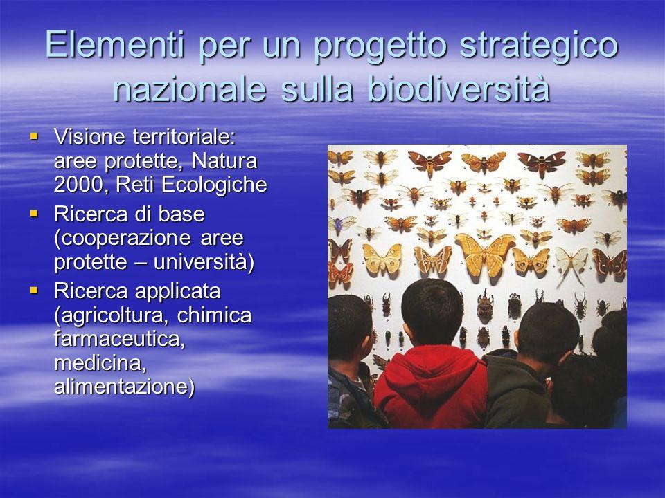 Elementi per un progetto strategico nazionale sulla biodiversità