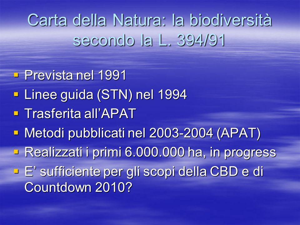Carta della Natura: la biodiversità secondo la L. 394/91