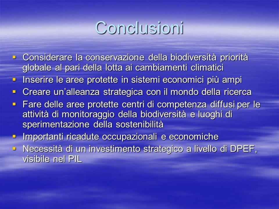Conclusioni Considerare la conservazione della biodiversità priorità globale al pari della lotta ai cambiamenti climatici.