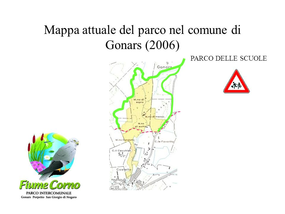 Mappa attuale del parco nel comune di Gonars (2006)