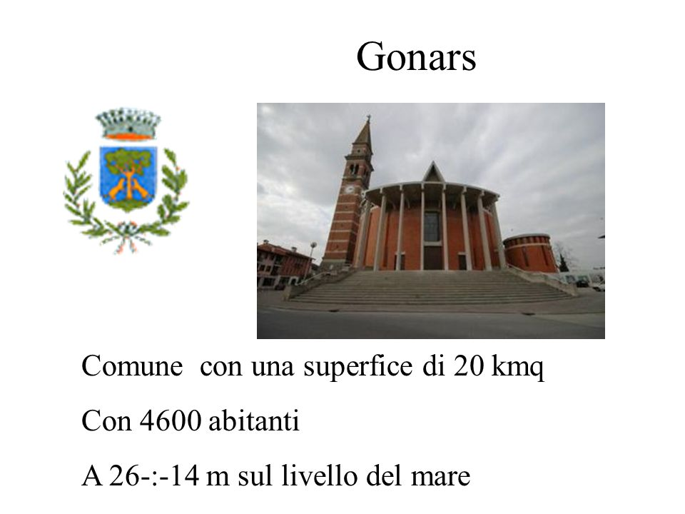 Gonars Comune con una superfice di 20 kmq Con 4600 abitanti