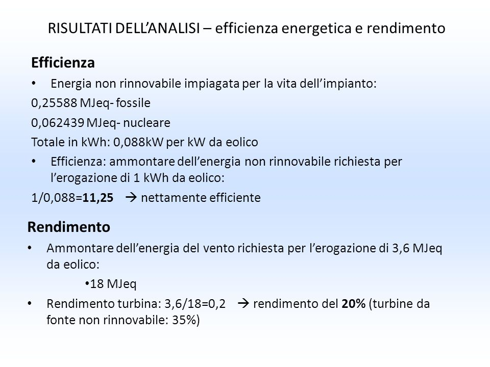 RISULTATI DELL'ANALISI – efficienza energetica e rendimento
