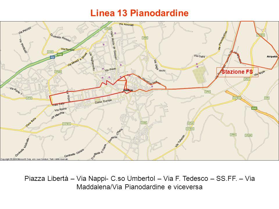 Linea 13 Pianodardine Stazione FS. Piazza Libertà – Via Nappi- C.so UmbertoI – Via F.