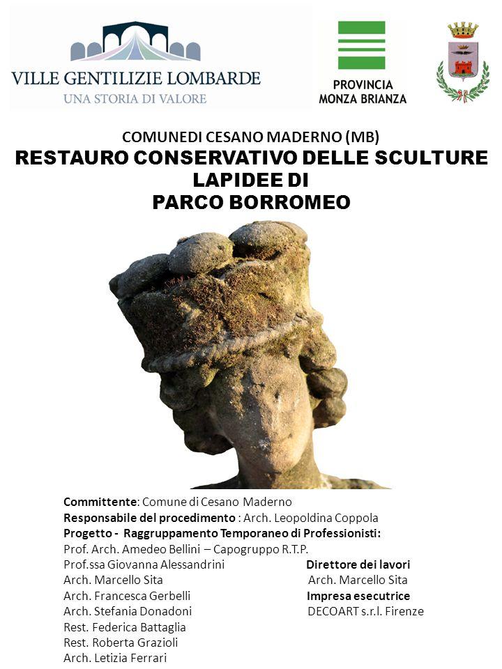 RESTAURO CONSERVATIVO DELLE SCULTURE LAPIDEE DI PARCO BORROMEO