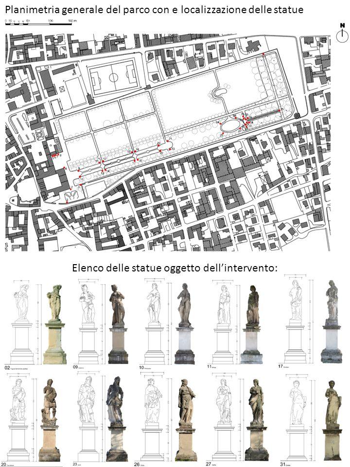 Elenco delle statue oggetto dell'intervento: