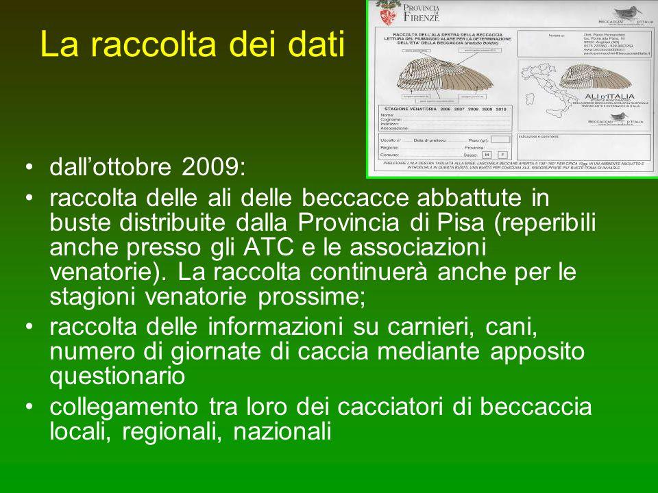 La raccolta dei dati dall'ottobre 2009: