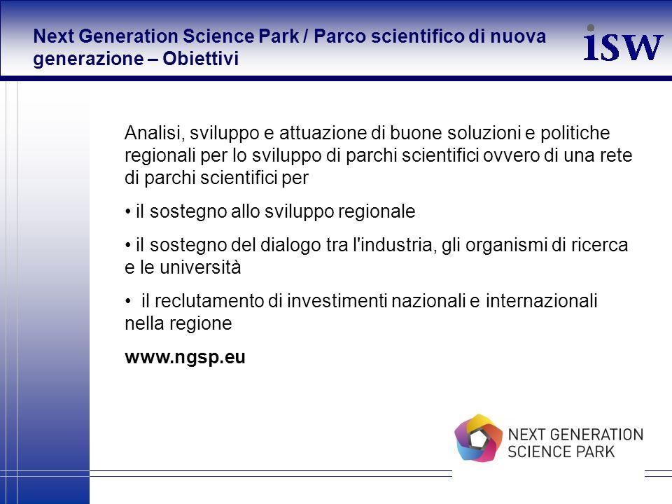 Next Generation Science Park / Parco scientifico di nuova generazione – Obiettivi