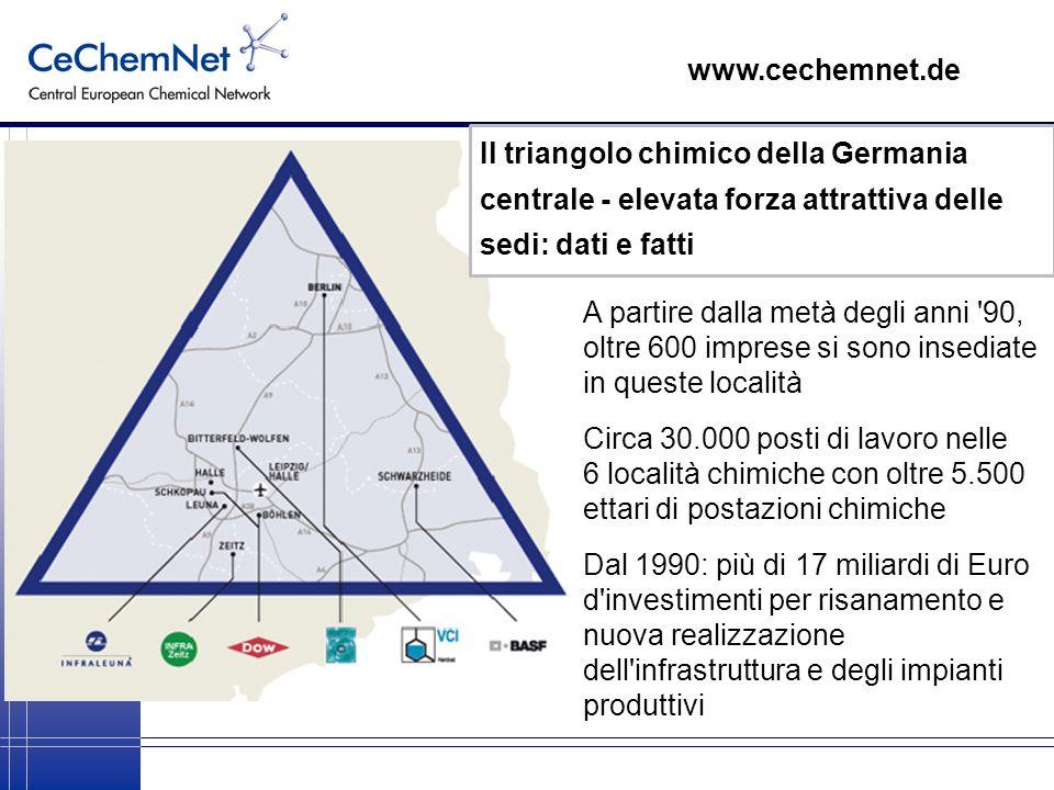 www.cechemnet.de Il triangolo chimico della Germania centrale - elevata forza attrattiva delle sedi: dati e fatti.