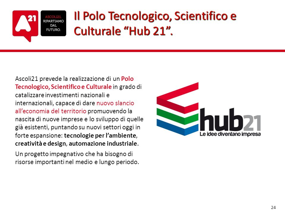Il Polo Tecnologico, Scientifico e Culturale Hub 21 .