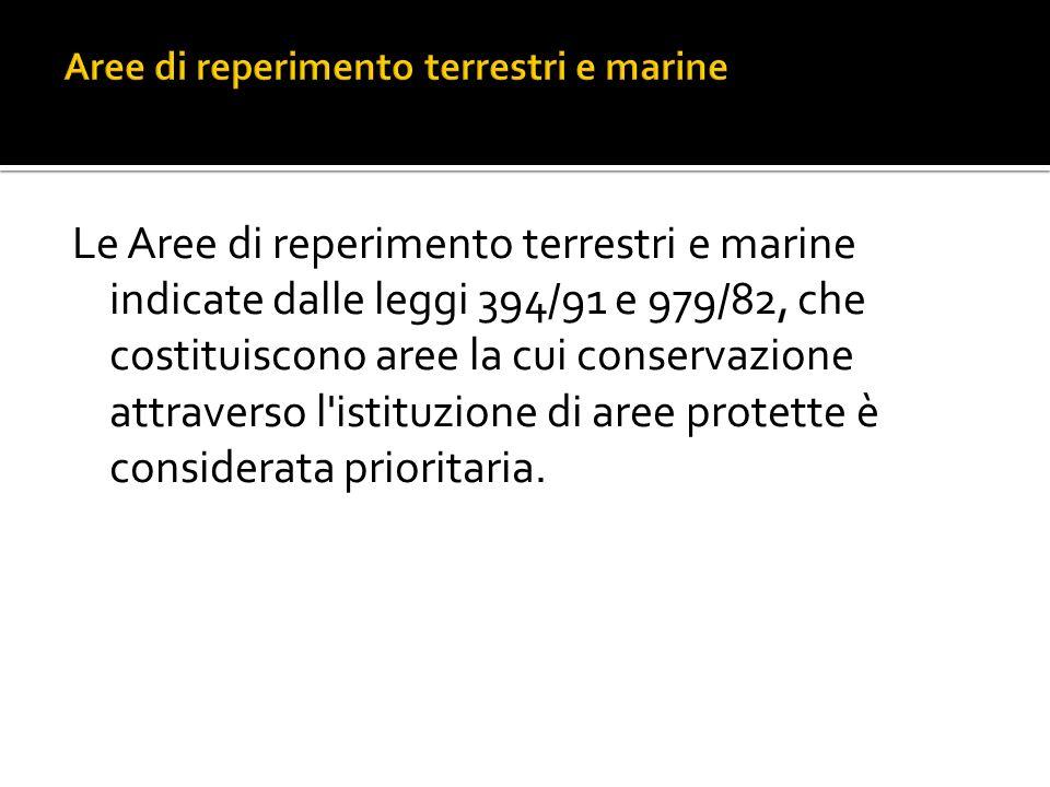 Aree di reperimento terrestri e marine