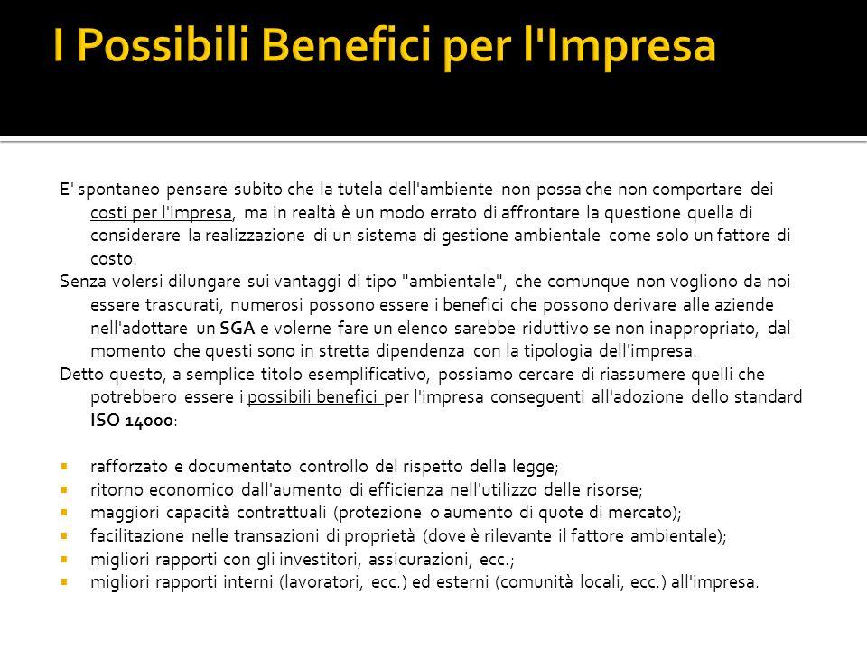 I Possibili Benefici per l Impresa