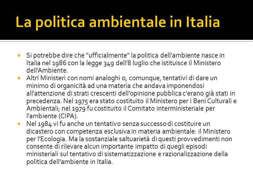 La politica ambientale in Italia