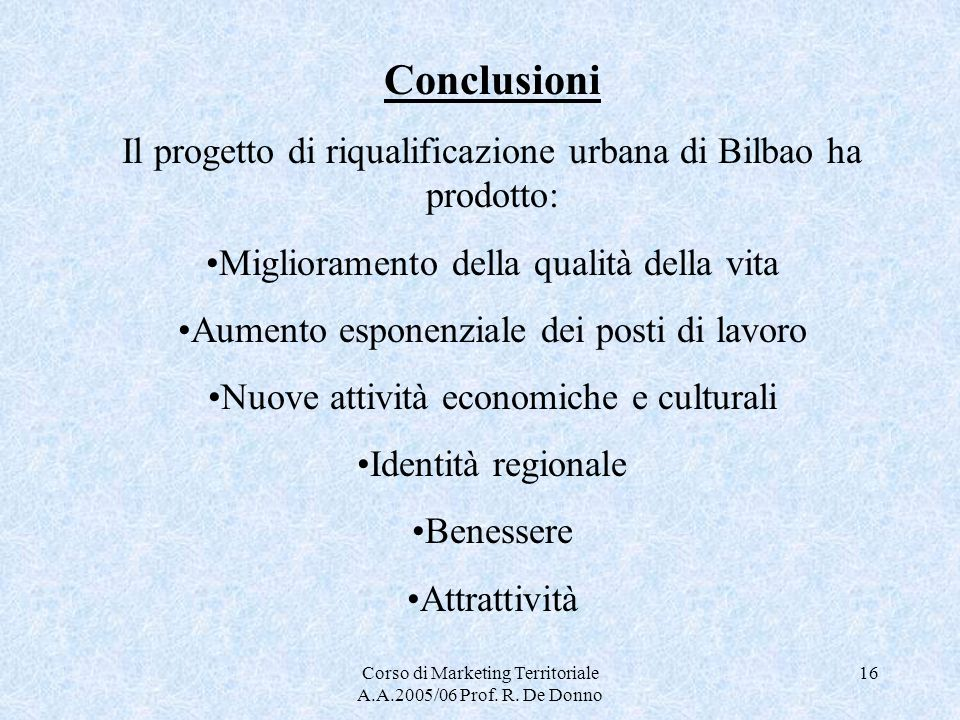 Conclusioni Il progetto di riqualificazione urbana di Bilbao ha prodotto: Miglioramento della qualità della vita.