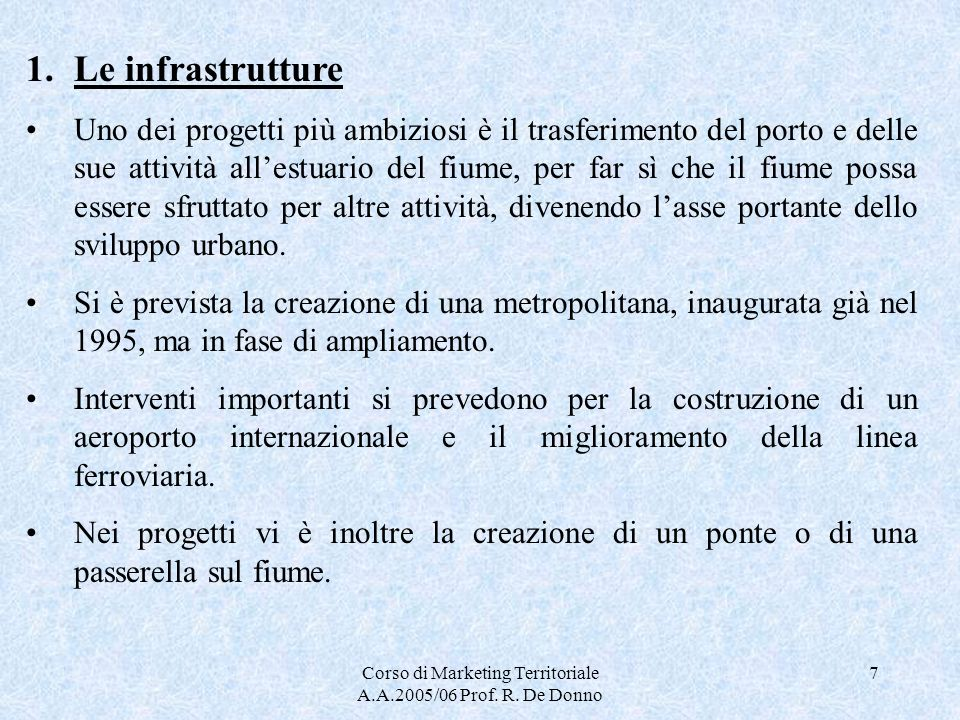 Corso di Marketing Territoriale A.A.2005/06 Prof. R. De Donno