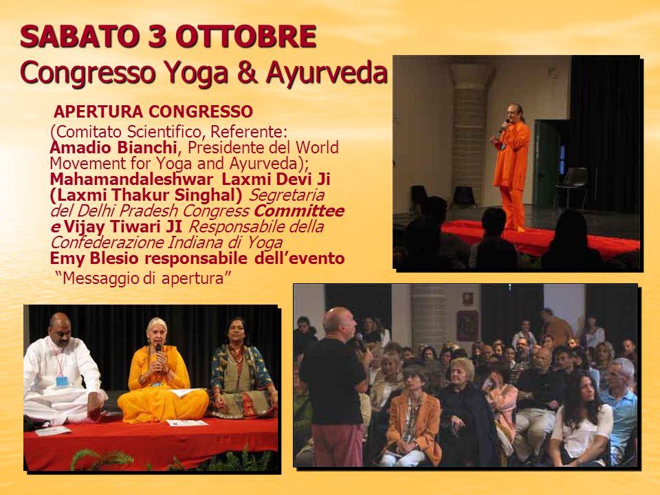 SABATO 3 OTTOBRE Congresso Yoga & Ayurveda