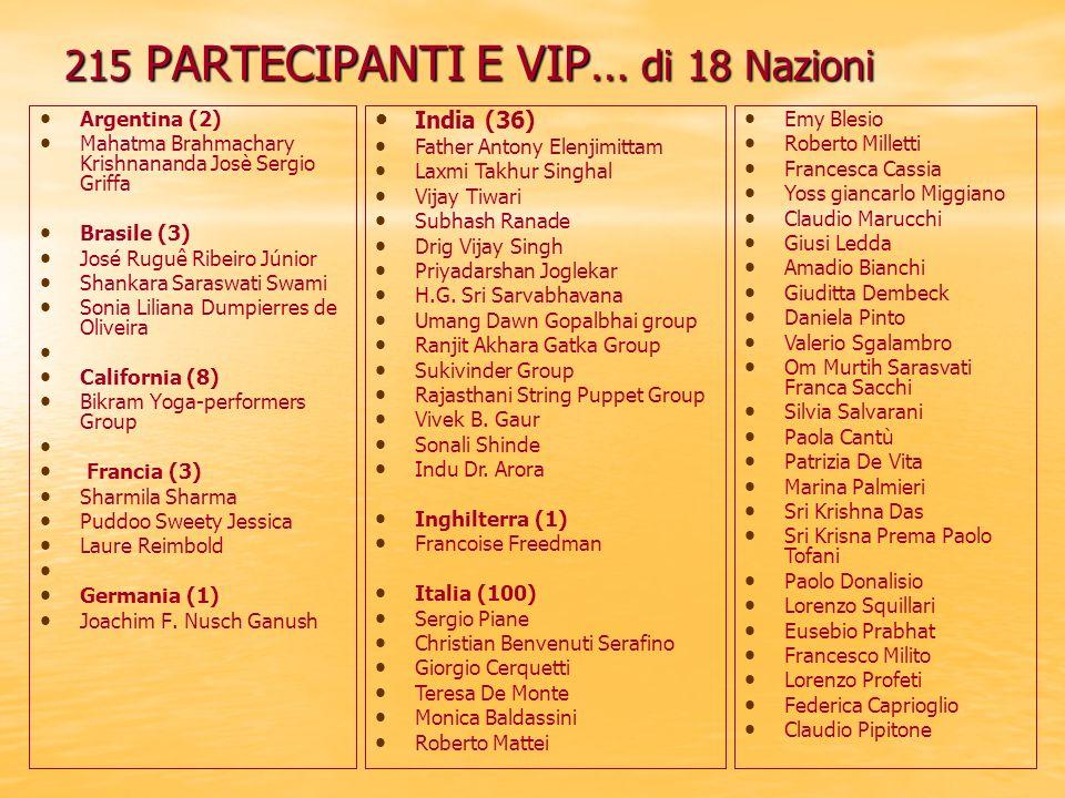215 PARTECIPANTI E VIP… di 18 Nazioni