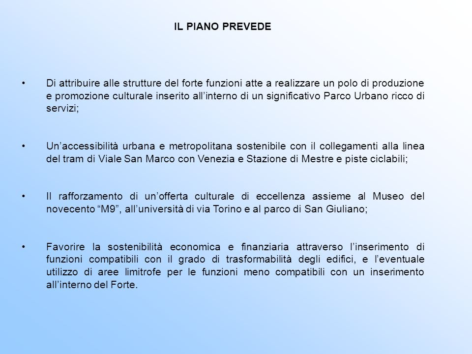 IL PIANO PREVEDE