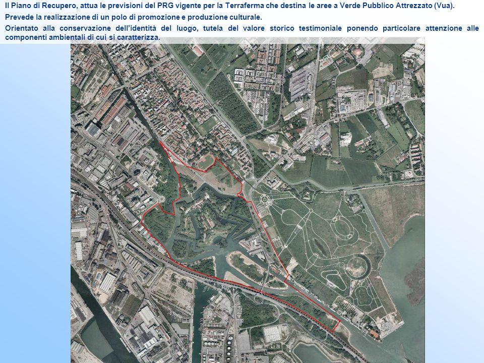 Il Piano di Recupero, attua le previsioni del PRG vigente per la Terraferma che destina le aree a Verde Pubblico Attrezzato (Vua).